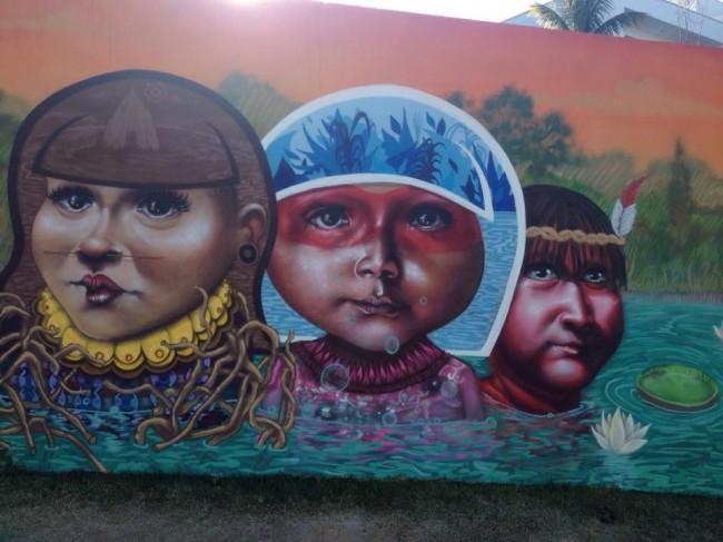 Inspiração indígena: Mural inaugural do projeto Amo Amp